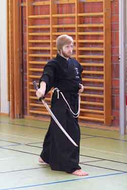 Iaido chiburi or sword flick