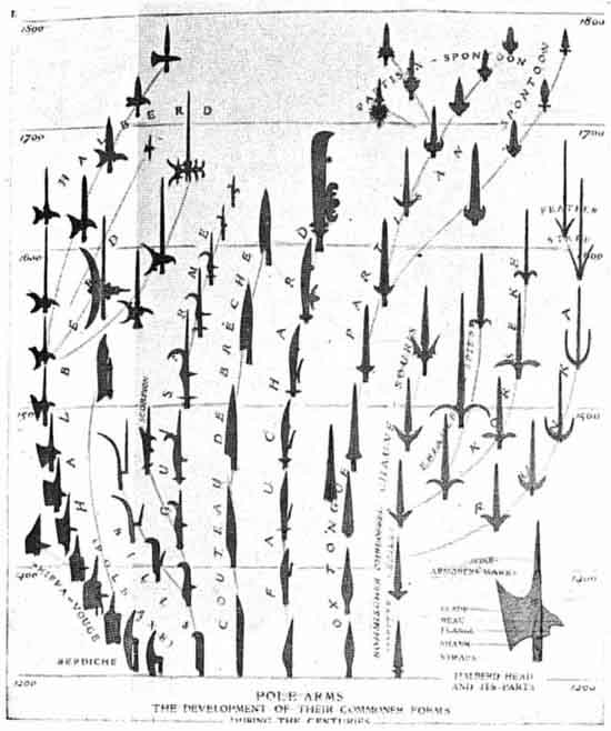 Evolution of spears to polearms