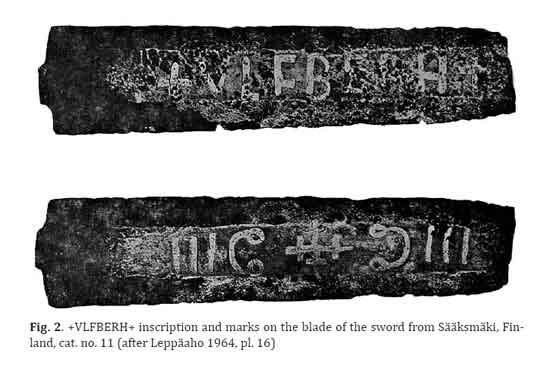 Ulfbert viking sword with Omega symbols